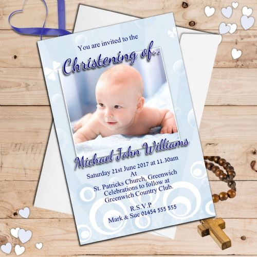 10 Personalised Christening Baptism Photo Invitations N38